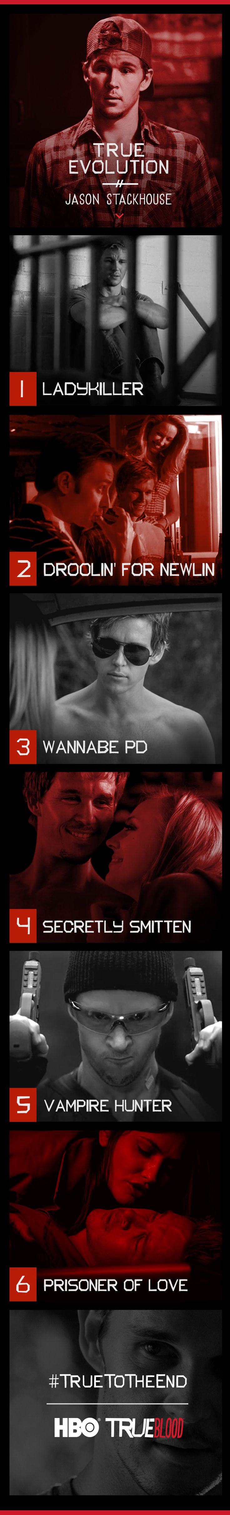 Jason Stackhouse, as played by Ryan Kwanten, on True Blood, seasons 1 - 7