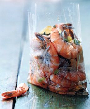 Jamaican Hot Pepper Shrimp 4 cups water 1/2 cup chopped scallion 4 garlic cloves, crushed 3 fresh thyme sprigs 3 fresh Scotch bonnet or habanero chiles, halved and seeded 2 tablespoons salt 1/2 teaspoon black pepper 10 whole allspice 1 lb large shrimp in shell (21 to 25 per lb)