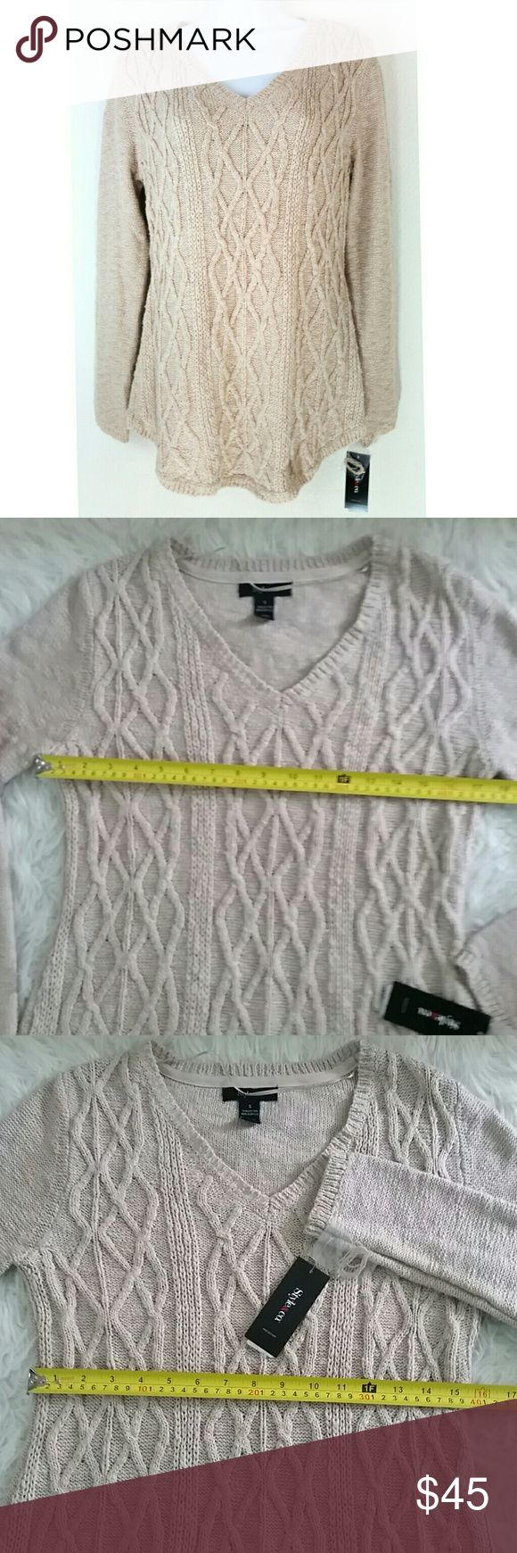 Style & Co Natural Heater Sweater S Style & Co Natural Heater V Neck Sweater S Style & Co Sweaters V-Necks