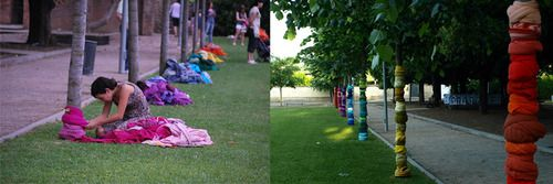 #textilkontak #installation #art #recycledclothes  #trees #park #torello