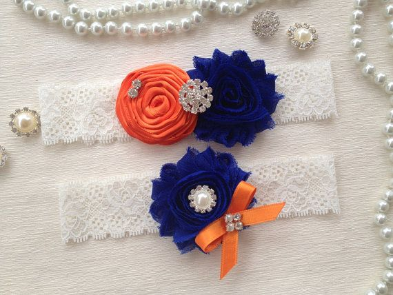 wedding garter set orange/royal blue bridal garter by alarastore