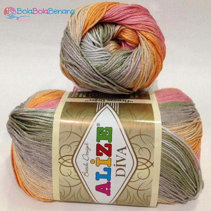 ALIZE DIVA BATIK 3679, Price: 90.000,-/gulung, Bahan: 100% Microfiber Akrilik, Berat/Panjang: 100gr/350m, Knitting Needles: 2,5mm – 3,5mm, Crochet Hook: 1mm - 3mm