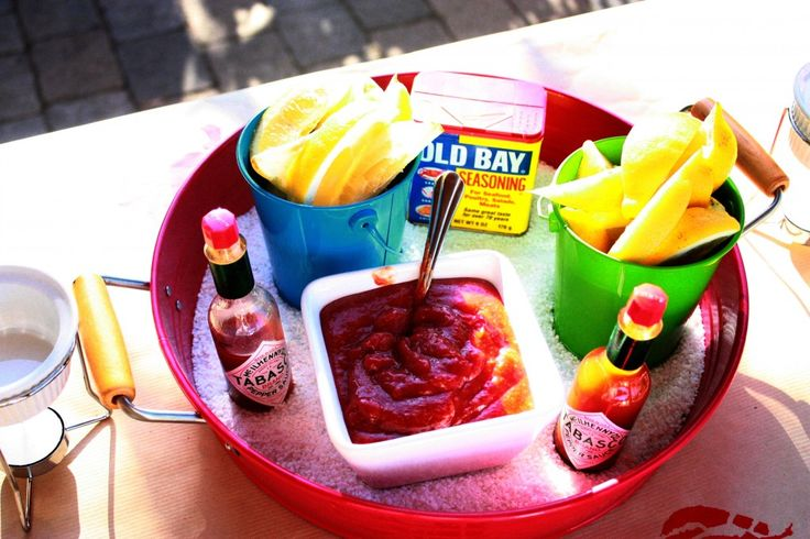 shrimp boil - condiment tray