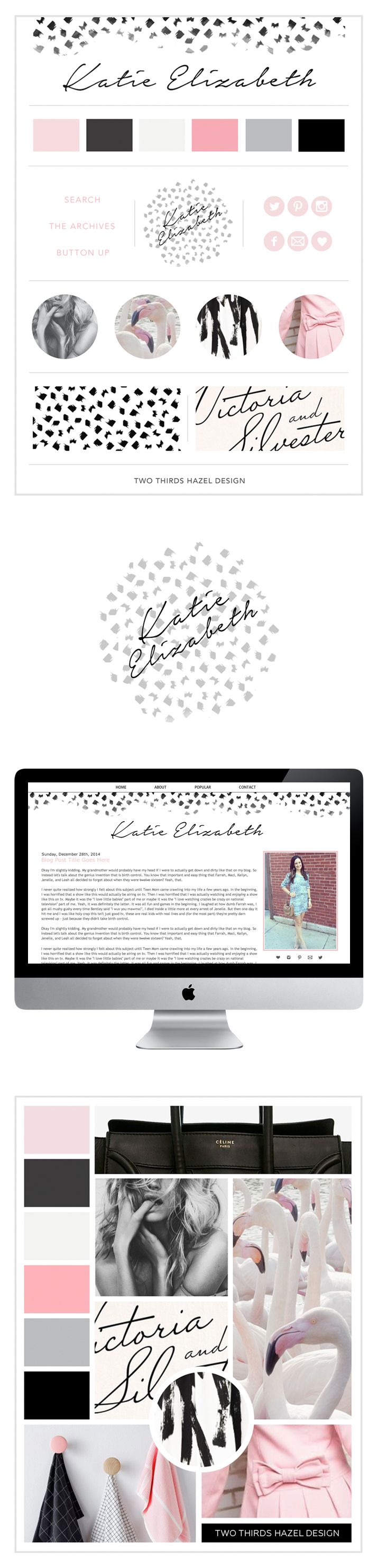 Pink and black blog design. Mood board. Brand board. Girly graphic design. Preppy website design. Black and white pattern. Two Thirds Hazel Design.