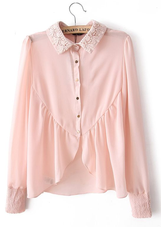 Pink Embroidery Lapel Long Sleeve Chiffon Blouse - Sheinside.com