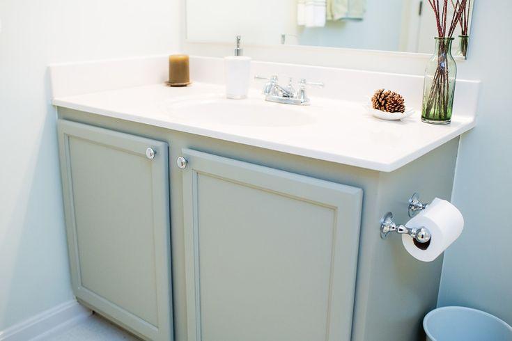 Diy Bathroom Update Painted Orange Oak Bathroom Vanity Cabinet Sherwin Williams Chatroom Sage