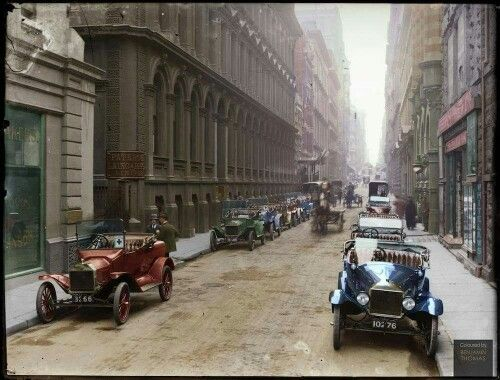 Melbourne, Flinders Lane c1920. Amazing historical hand coloured photo of my home town. Love!