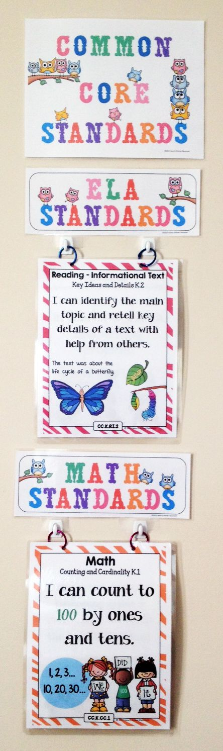 LOVE how the ccss are on binder rings for easy display!-easy way to display in classroom.