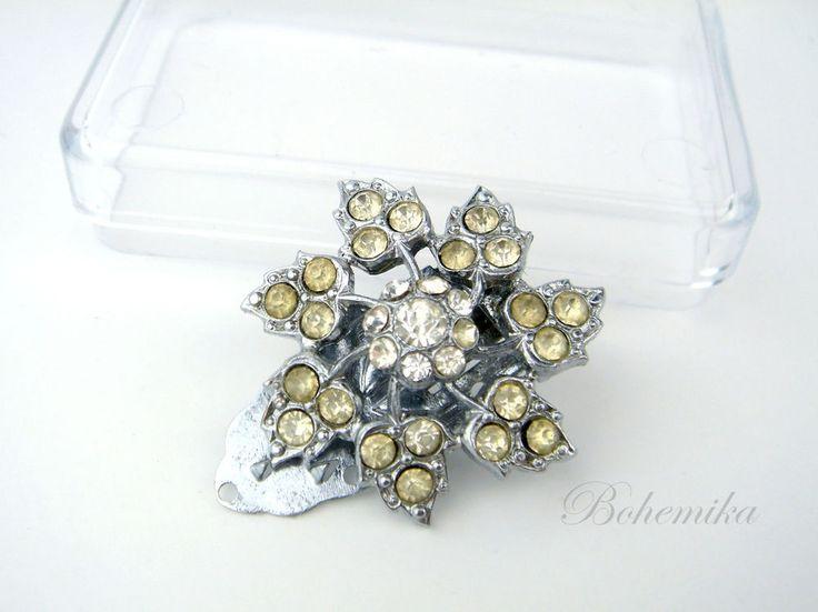 Vintage Antique Art Deco Czech Glass Rhinestones Scarf Brooch Pin Flower Silver