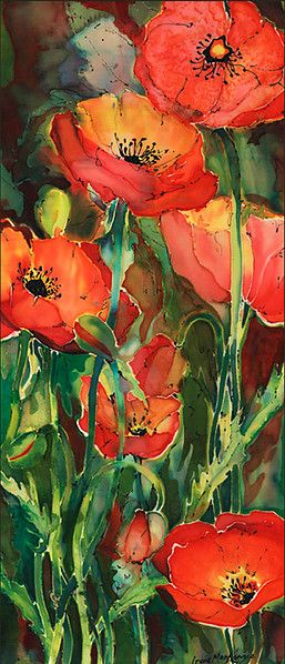 Poppies on Silk  -  Irene mackenzie