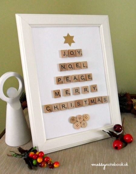 framed button christmas tree | Christmas Tree Scrabble Tile Art - Messy Notebook