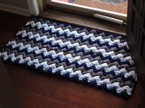 Chevron Crochet Carpet navy blue and grey Door mat by EvaVillain