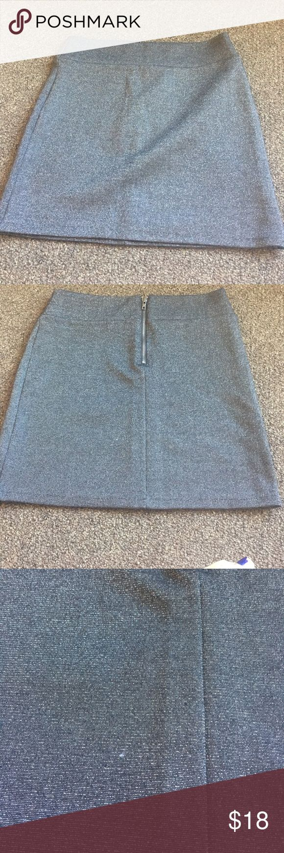 Dark grey and metallic body con mini skirt Body con skirt with back zipper detail and metallic threading. Great condition worn once. Color is darker than pictured American Eagle Outfitters Skirts Mini