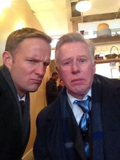 Rupert Penry Jones being cute, with Phil Davis
