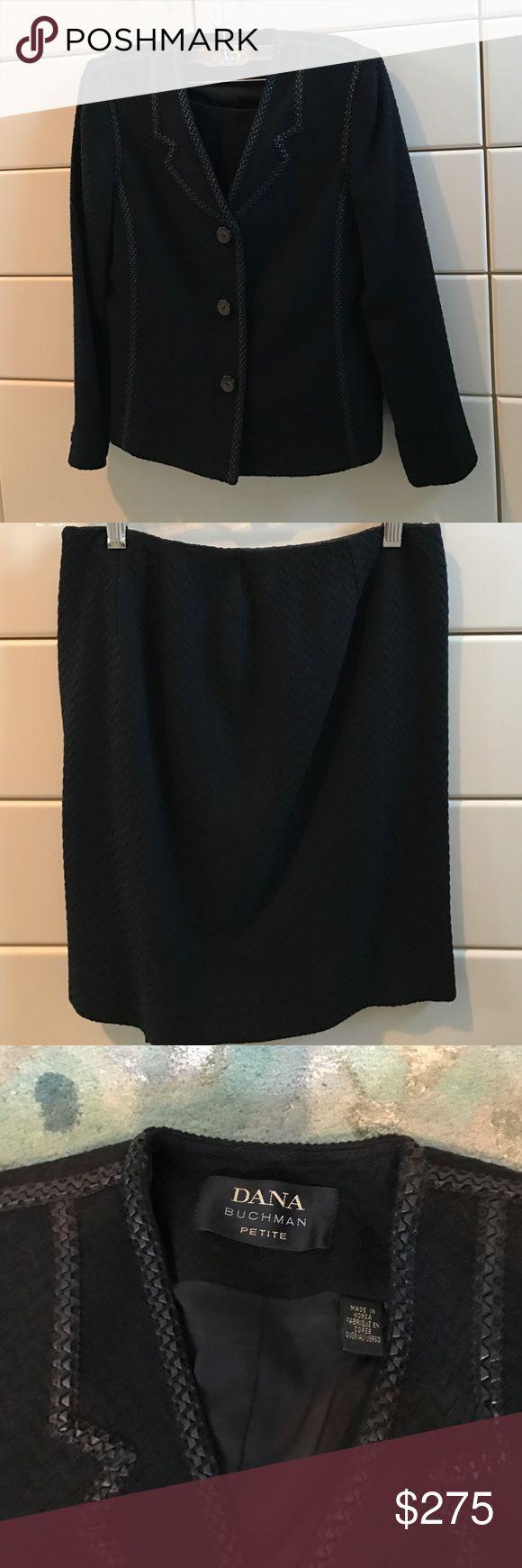 Dana Buchman Petite Suit Classic Dana Buchman leather trimmed skirt suit. Purchased at Neiman Marcus. Dana Buchman Other