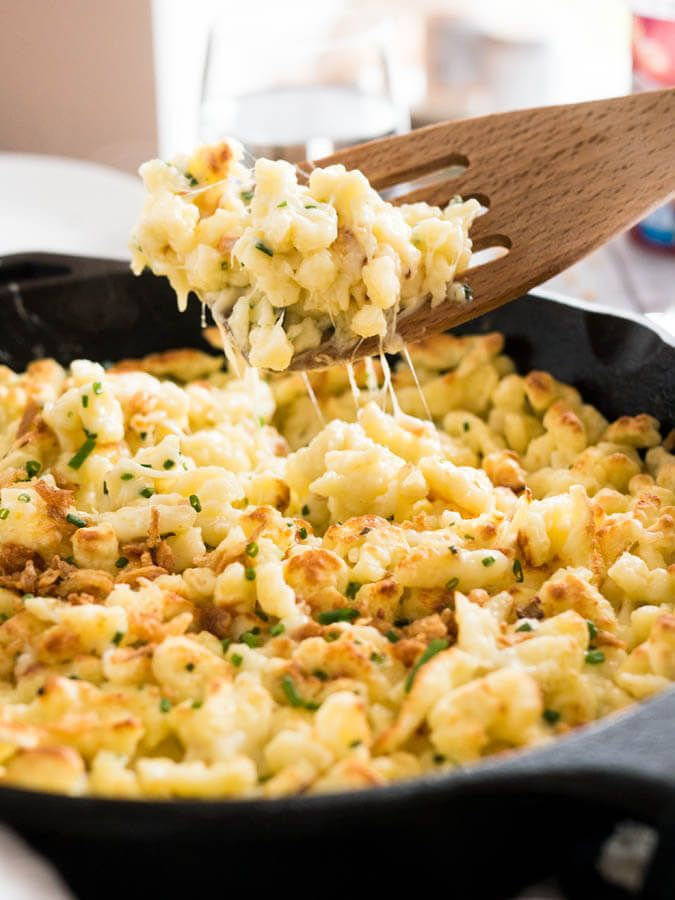Cheese Spaetzle (Käsespätzle) is the German version of Mac and Cheese! Made with german egg noodles and Emmental cheese. Perfect for an Oktoberfest party!