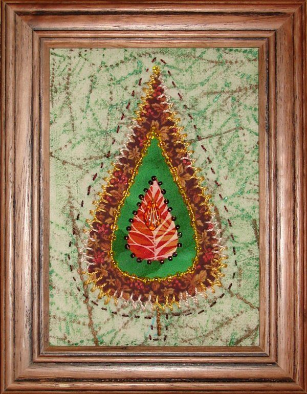Little leaf quilt.  Hand embroidered and beaded.  Background fabric was painted by leaf rubbing with Shiva paintsticks.