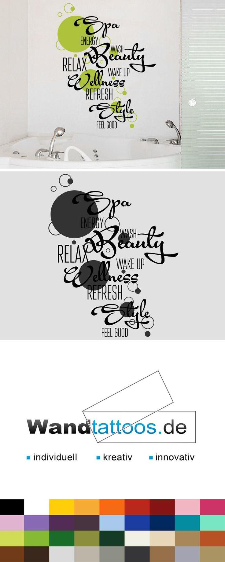 Wandtattoo Badezimmer Wortwolke als Idee zur individuellen Wandgestaltung. Einfach Lieblingsfarbe und Größe auswählen. Weitere kreative Anregungen von Wandtattoos.de hier entdecken!