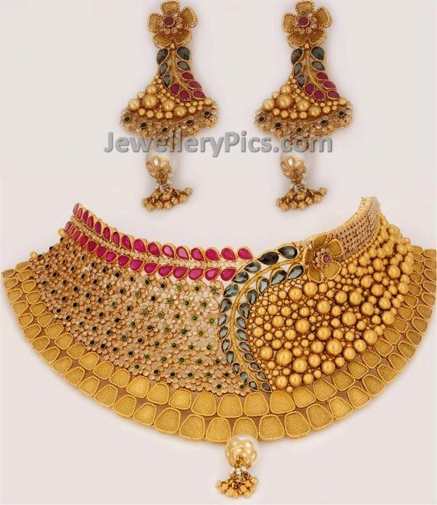 22ct gold designer Bridal set - Latest Jewellery Designs