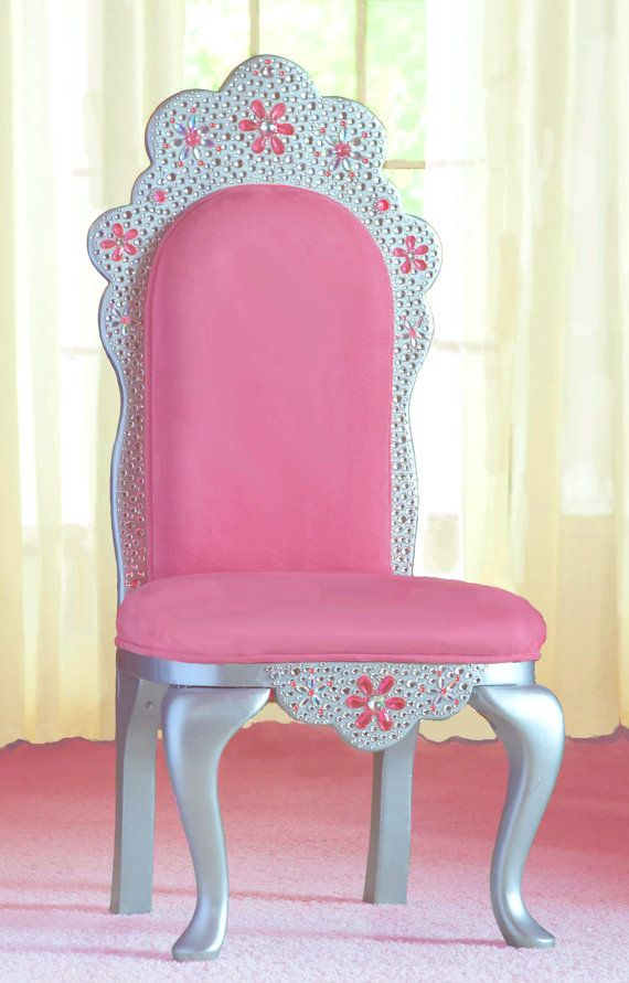 Diamond Tiara Princess Chair in pink faux suede by Judio9 on Etsy