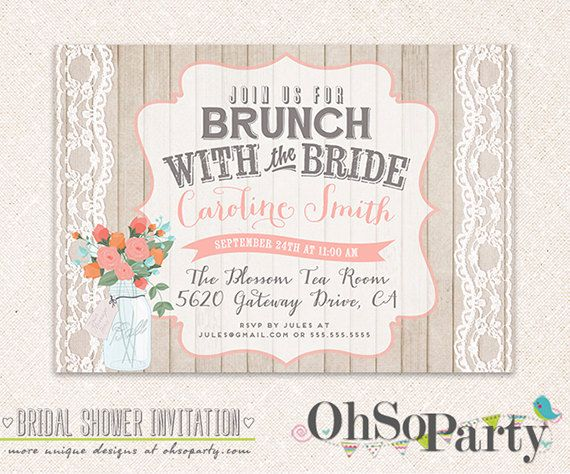 Shabby Brunch Custom Bridal Brunch Invitation Card By