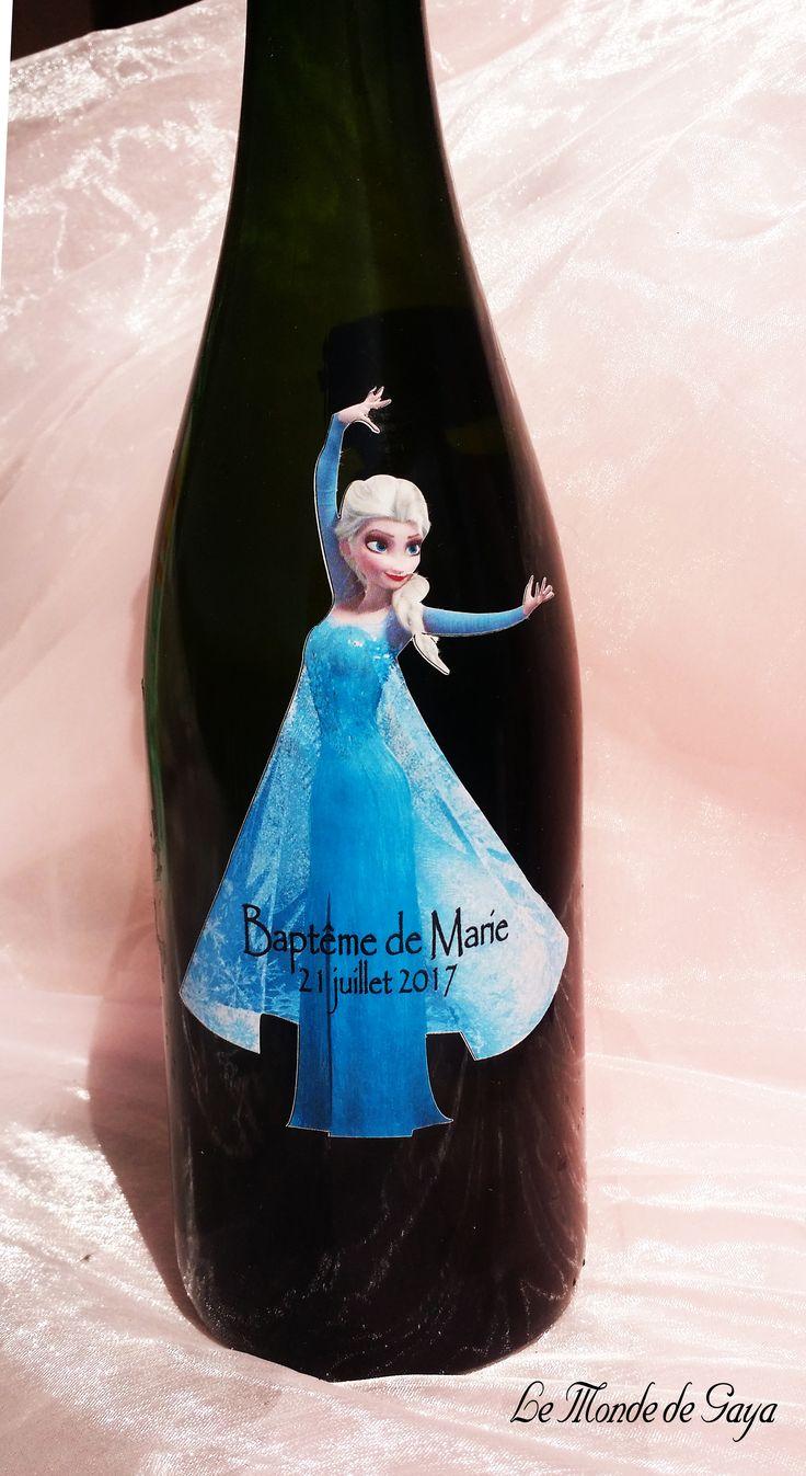 Etiquette à vin ou champagne reine des neiges personnalisable