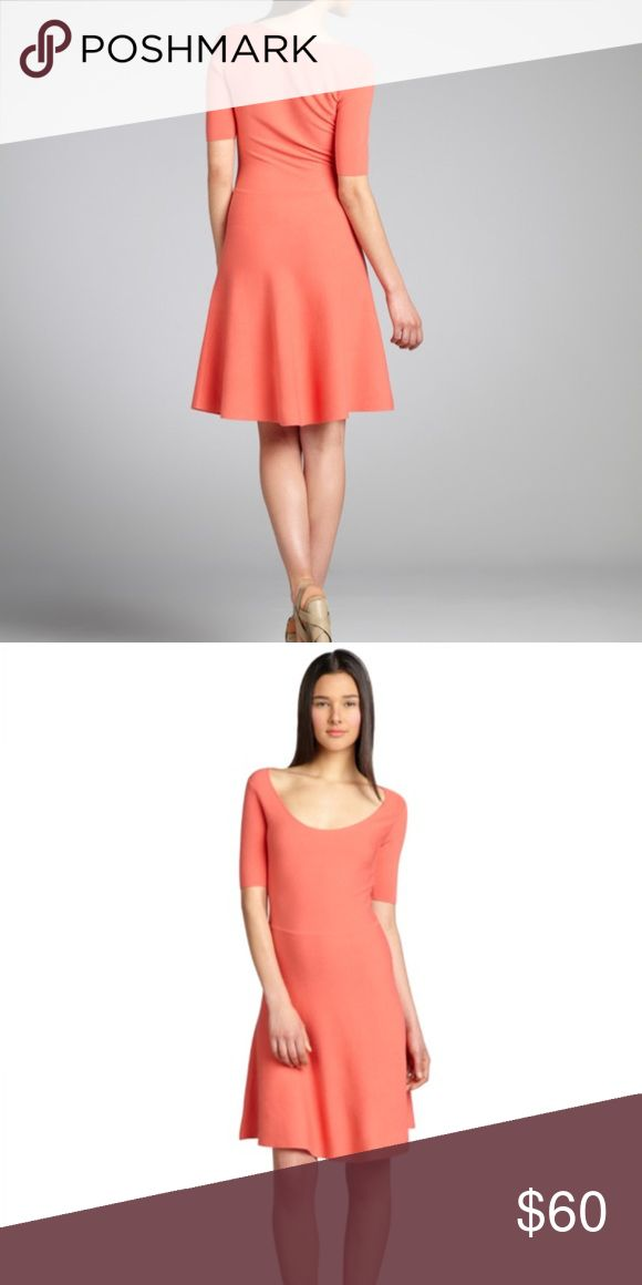 Coral Midi Dress Pre Loved, great condition. Mid-Weigh Stretch Knit, Deep Scoop Neckline, Three Quarter Sleeve, Banded Waist, Trumpet Skirt, Slip On, and Unlined.  Size S Measures Approximately 23'' Long From Natural Waist; May Vary By Size Machine Wash 72% Rayon / 28% Polyester BCBGMaxAzria Dresses Midi