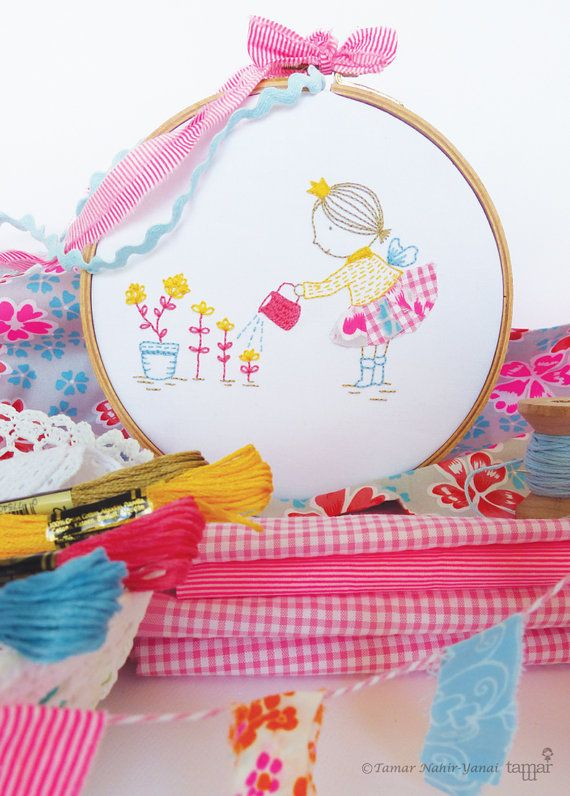 Embroidery Kit Hand embroidery Happy little by TamarNahirYanai