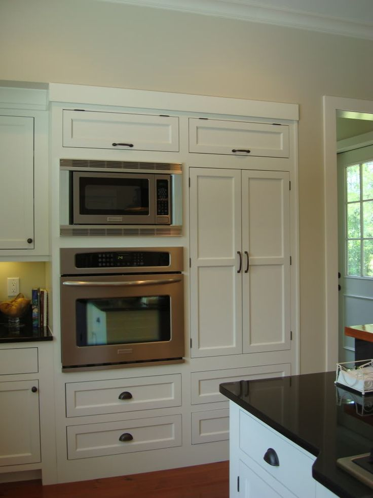Cabinetry around microwave and oven kitchen dreaming for Wall oven microwave combo cabinet