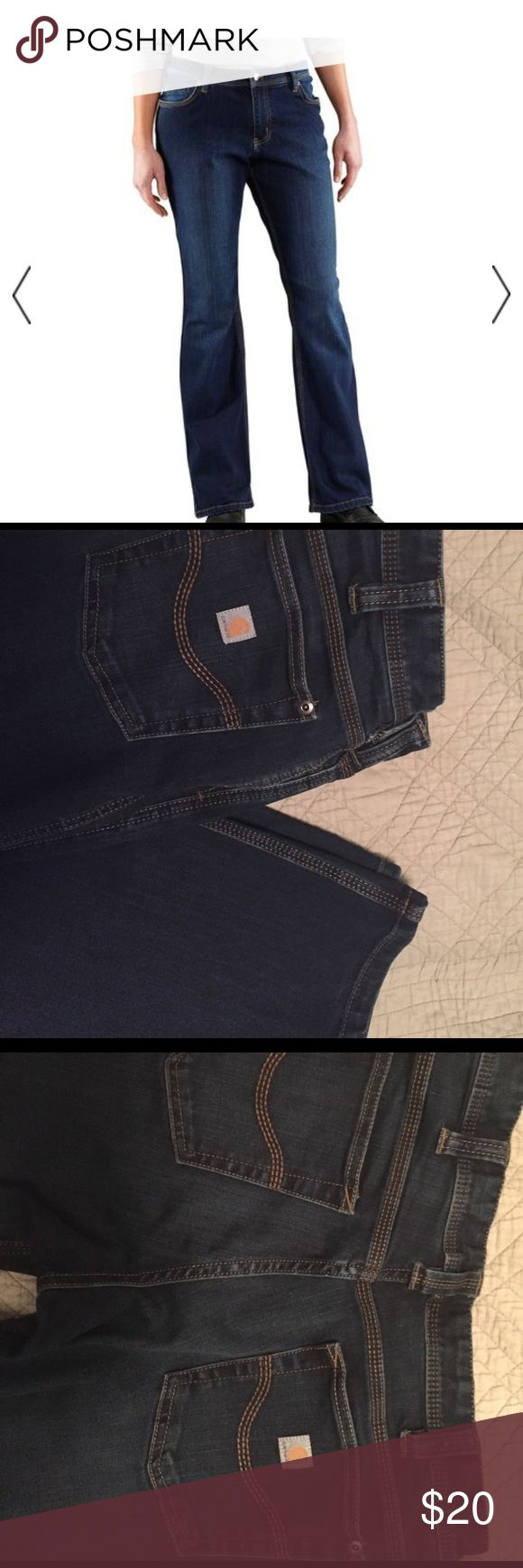 Two pairs Carhartt work jeans size 6 Tall Two pair of virtually identical Carhartt denim work pants size 6 Tall. Jeans wore once each. No damage or wear. Perfect for the female tradesworker. About as stylish as women's work denim gets. Posting is for both pair. Carhartt Jeans Straight Leg
