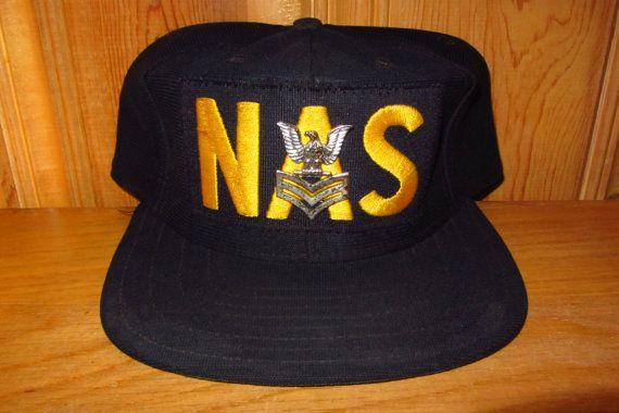 NAS Naval Air Station Vintage 80s Hat Official USN Hat with PIN at HatsForward