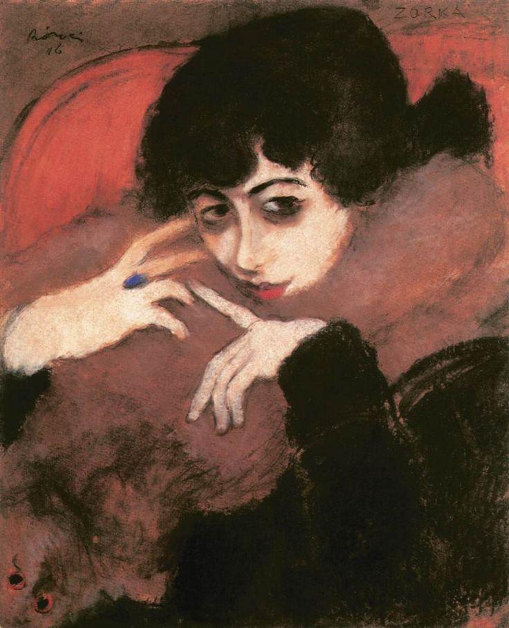 József Rippl-Rónai (1861-1927, Hungarian), 1916, Shivering Girl with a Blue Ring #Hungarian #Portrait