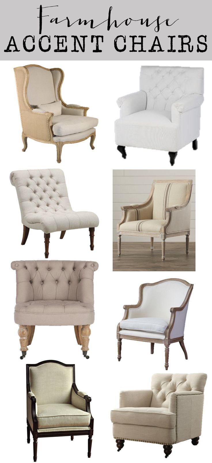 Friday Favorites: Farmhouse Accent Chairs – House of Hargrove.  Neutral, Linen, Tufted, beautiful accent chairs.