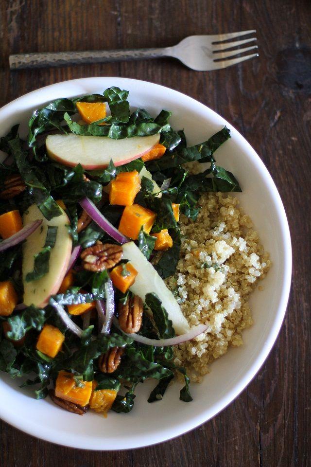 Butternut Squash Kale Salad with Orange-Sage Dressing by theroastedroot #Salad #Butternut_Squash #Kale #Orange #Sage #Healthy