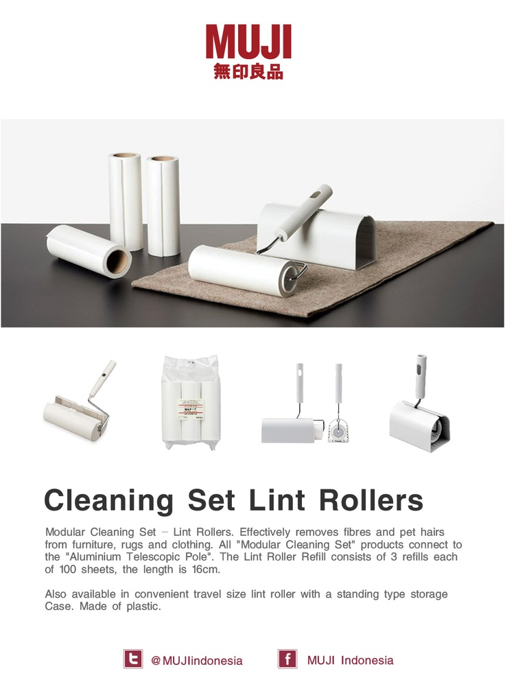 [MUJI Cleaning Set Lint Rollers] - Effectively removes fibers and pet hairs from furniture, rugs and clothing.