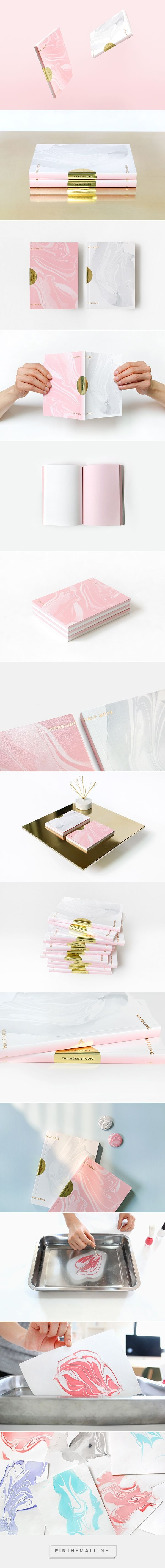 Two sided #booklet and #brochure design with marbled cover and gold foil: