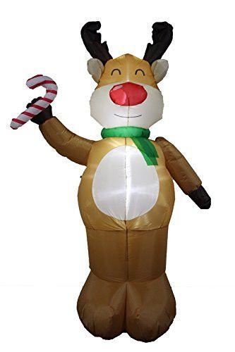 Holly Jolly Inflatable Collection 8Ft Reindeer with Candy Cane