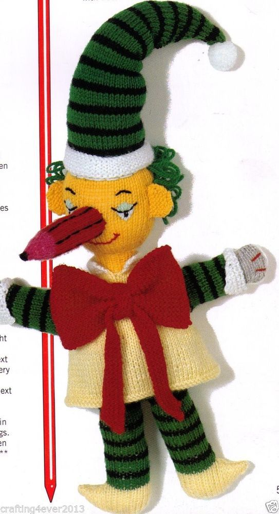 VINTAGE TV SHOW MR SQUIGGLE CHARACTER SOFT TOY 50 CMS TALL 8PLY KNITTING PATTERN