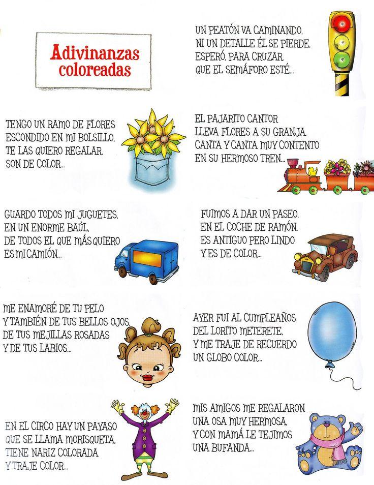 Adivinanzas coloreadas.  Lenguaje Oral en Ed Infantil