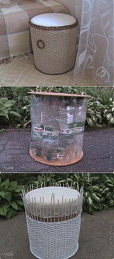 Пуфик из пластиковых бутылок + МК | Страна Мастеров