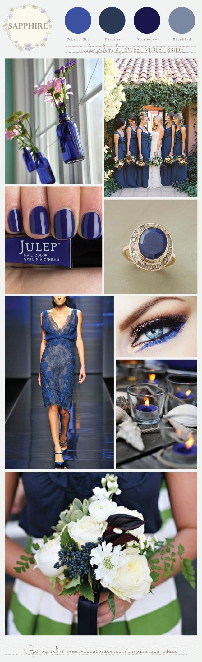 Sapphire is the September birthstone and makes for a gorgeous wedding palette. Though known for its deep blue hue, this gemstone actually can come in a whole range of colors, from