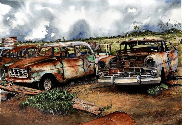 """""""The Wrecks"""" - A pen and wash artwork I completed after about 40 hours work. I love these old wrecks and I apologise for not knowing who the photographer was, but when I find out I will give him/her credit. (500 x 355mm on Archers Acid Free Hot Press Paper) Artwork is for sale."""