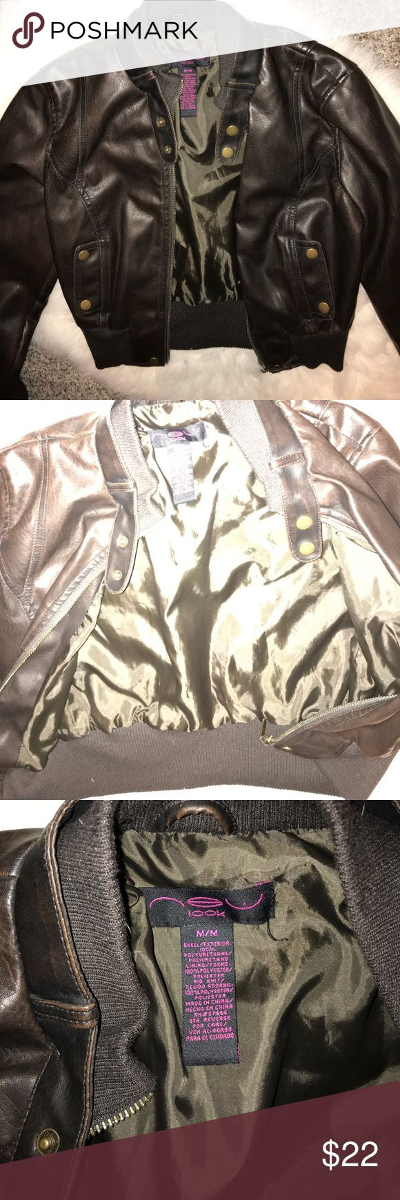 Brown cropped faux leather jacket size M These beautiful cropped jacket has never been worn and is in need of a good home 😍 no stains or defects. Zipper works. New Look Jackets & Coats