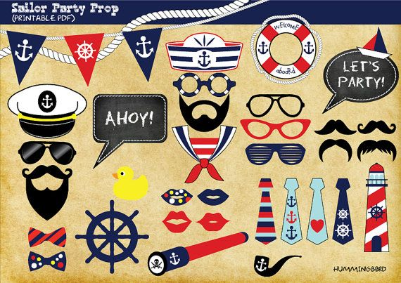 Nautical Themed Party Photo Booth Prop, Sailor Themed Party Photo Booth Prop, Instant Download,Party Printable - Sailor, Navy, Maritime