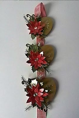 Christmas wall hanging by Kirsten S. Imagination Crafts' Starlights, Leane Creatief cutting dies, MDF hearts.
