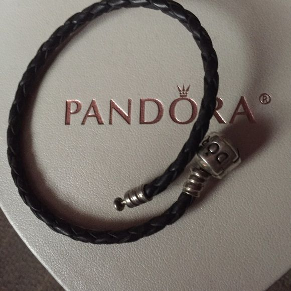 Pandora leather bracelet Leather Pandora bracelet with silver clasp please don't make ridiculous offers thank you Pandora Jewelry Bracelets