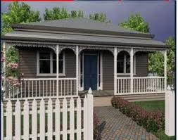 A grey and white weatherboard exterior. Goes with woodland grey