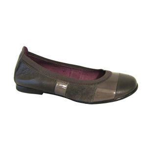 Zapato niña Hispanitas tipo bailarina en charol gris y ante