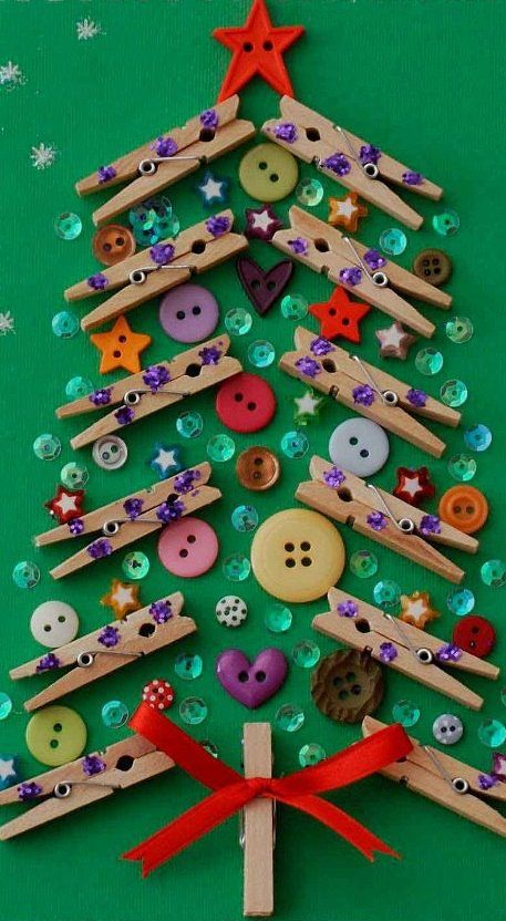 "DIY; It's the Season to be Jolly with Buttons and Clothpins plus a little ""Gemming Paillettes"" for a Christmas Tree! :-D"