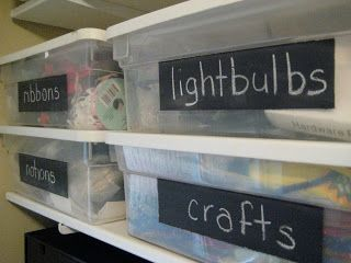 hodge:podge: Rubbermaid Bins Get a Makeover~ Tutorial on how to make Chalkboard labels on plastic bins